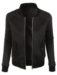 LE3NO Womens Water Resistant Full Zip Long Sleeve Varsity Bomber Jacket