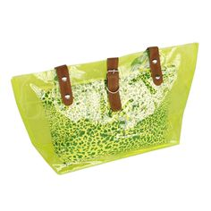[Lucky Green] Leopard Double Handle Leatherette Satchel Bag Handbag Purse Casual Styling