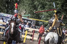 Stacy Wasson's(left) and Alison Mercer's(right) epic jousting pass at Brooks Medieval Faire Tournament 2014 (photo by Paul Keely) -The Jousting Life: Favorite Moments From 2014: Epic Moment at Brooks Medieval Faire