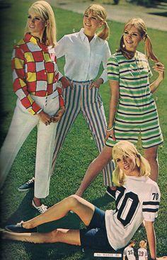 I like the striped dress. 60s And 70s Fashion, Modern Vintage Fashion, School Fashion, Teen Fashion, Retro Fashion, Retro Outfits, Vintage Outfits, Fashion Catalogue, Teen Models
