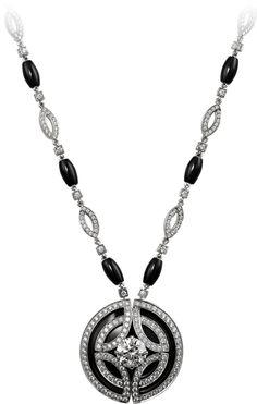 Galanterie de Cartier necklace in white gold black lacquer onyx diamonds