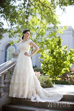 Stunning Vintage Inspired Lace - Modest Wedding Gown  Love the full bodied lace! And the A-line and natural waist!
