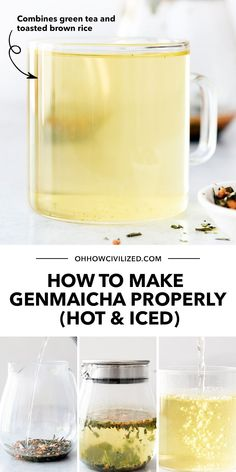 Genmaicha - a good herbal tea made of Japanese green tea mixed with toasted brown rice. Flavorful hot or cold! Learn how to make it with my guide - click to continue. Hot Tea Recipes, Green Tea Recipes, Drink Recipes, Iced Matcha Green Tea Recipe, Genmaicha Tea, Homemade Iced Tea, Green Tea Drinks, Best Herbal Tea, Brown Rice