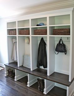 A mudroom or an entryway is usually a small space that needs a lot of storage to hold lots of stuff. We've gathered lots of small mudroom storage ideas for you. Mudroom Laundry Room, Mud Room Lockers, Entry Way Lockers, Mudroom Cubbies, Built In Lockers, Wood Lockers, House Of Turquoise, My New Room, Home Organization