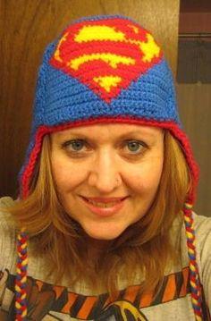 Free Crochet Superman Earflap Hat Pattern.