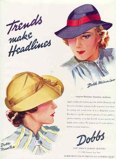 1938 Dobbs womens hat trends make headlines vintage millinery ad