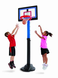 Little Tikes Play Like a Pro Basketball Set. 5 height adjustments from 4 to 6 feet tall. Includes a breakaway rim. Includes 1- junior-size-soft basketball. Base must be weighted with sand for stability (not included).