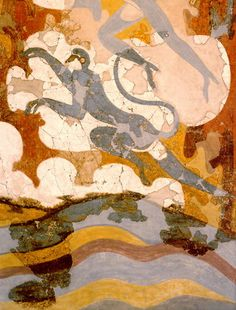 """Blue Monkeys wall painting from Cycladic period (17th century BCE) in Akrotiri, one of the six """"villages"""" in the complex of Santorini in Ballito"""