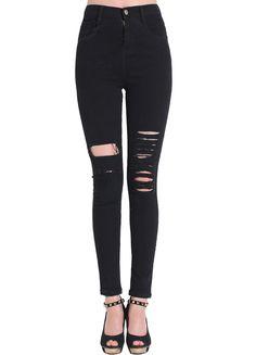 Pantalones vaqueros con rotos-negro 15.02