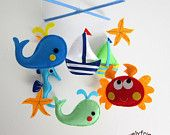 Baby Mobile - Whale And Sailboat Baby Crib Mobile - Felt Sea Whale Decorate…