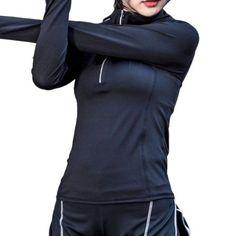4bb7376dd8a59 Long Sleeve Women Fitness Yoga Jacket 1/2 Zipper Stretchy Fit Sport Clothes  Tops Yoga