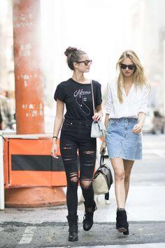 T-shirt: tumblr black black jeans jeans ripped jeans black ripped jeans boots black dress flat boots