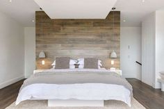 Wood panel accent wall bedroom accent wall ideas different ways to cover your walls in wood . Accent Wall Bedroom, Wood Bedroom, Bedroom Lamps, Master Bedroom, Bedroom Furniture, Bedroom Beach, Upstairs Bedroom, Wood Headboard, Panel Headboard