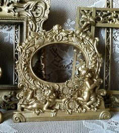 Glittery Gold Finish Baroque Frame Gallery / Cherubs / French Hanging Wall Frames / Open / Sparkle. $74.00, via Etsy.