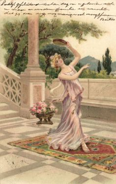 art nouveau dancing lady with tabourine vintage postcard early 1900