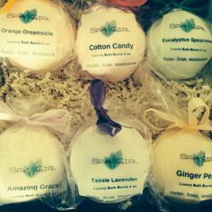 Our newest gift set with 6 large 5.3 oz bath bombs  Great gift for Mom!  Ultra moisturizing and all- natural