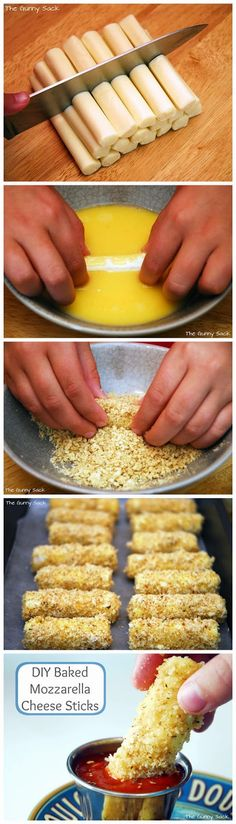 Baked Mozzarella Cheese Sticks Recipe - Easy Recipes like these baked mozzarella cheese bites. Healthier than fried! Ingredients 1 pack...