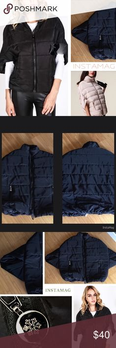 Stylish Black Batwing Short Sleeve Down Jacket Purchased this Stylish Black Batwing Short Sleeve Down Jacket on Poshmark last winter. Worn once for 2 hours. I simply need closet space. In Brand New Condition. Polyester lining/down filling. Silver hardware. Looks great layered over a long sleeve t-shirt and paired with jeans. Sizing runs small. RECOMMEND BEST FIT FOR A MEDIUM OR A PETITE LARGE. I found this to be a quality piece and very warm considering I was a bit skeptical that came from…