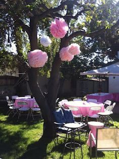Backyard Birthday Party Use Poofs In The Tree For Ns
