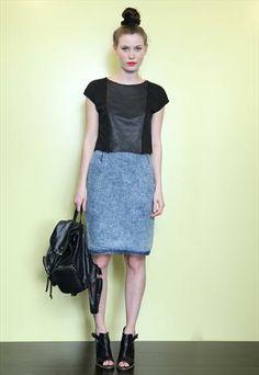 Vintage 80's Mid Blue Acid Wash Denim Skirt
