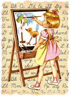 Little girls at art easel