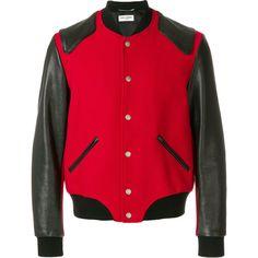 Saint Laurent Heaven varsity jacket (€3.390) via Polyvore featuring men's fashion, men's clothing, men's outerwear, men's jackets, red, yves saint laurent mens jacket und mens red jacket