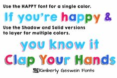 KG HAPPY- a new layerable, 3D font!  So many options!