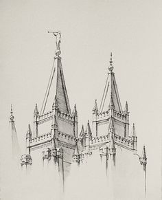 Salt Lake Temple Drawing  Ink wash and pen by ChristensenPaintings, $25.00 on Etsy