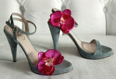 Orchid Shoe Clips Bright Magenta by RisaRuthDesigns on Etsy, $22.00
