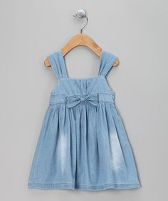 Take a look at this Light Blue Denim Bow Dress - Infant, Toddler & Girls by Chic Charlee on #zulily today!
