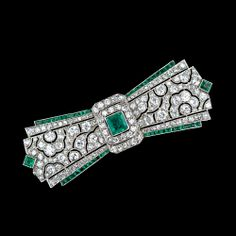 Fine French Art Deco Diamond and Emerald Bow Brooch