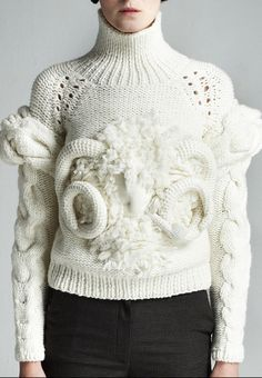 Sculptural Knitwear - knitted sweater with structured symmetry & sculpted 3D textures; wearable art // Natalia Alaverdian