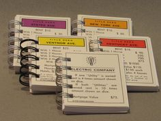 Monopoly Card Spiral Notebook, Stocking Stuffer, Monopoly Deed, Thank You Gift by FoxonRiverRecreative on Etsy
