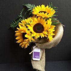 Sun Flowers and Leather Leaf! Only $25 delivered same-day anywhere in Manhattan*. #sunflower #sun #flower #leatherleaf #florist #petiteposy #manhattan #newyork