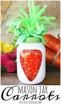 A tutorial for an easy Easter craft idea to make a carrot mason jar with a mason jar, paint, felt and jelly beans. A great Easter basket filler idea!