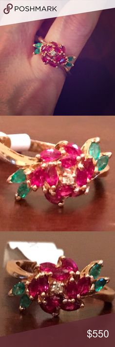 18K Rose Gold Diamond Ruby Emerald Rose Ring Rare vintage 18K rose gold 'The Royal Rose' ring with a center diamond surrounded by gorgeous natural rubies and emeralds. Diamond is about .05 carats with ten .10 carat rubies, and four .10 carat emeralds. About 1.45 TCW. Marked FM 18K 750 other marks are too small to read. Made by the Franklin Mint. I have researched that this ring maybe a Faberge piece. Size 9.5. Only selling because I wear a size 6. TradesPP. 18K Jewelry Rings