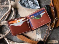 Classic Bifold Wallet Almond Veg Tan Leather by SHKIRA on Etsy
