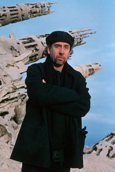 Tim Burton on the set of Planet of the Apes (2001)