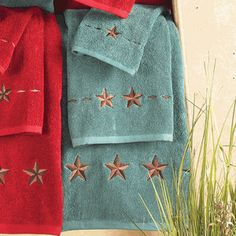 Star Turquoise Towel Set pcs) - Plush, turquoise cotton towels are embroidered with rustic stars on the Star Turquoise Towel Set to add western luxury to your bath. Three piece set includes bath towel x hand towel x and wash cloth x ~