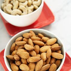 One-Quarter Cup of Almonds, Cashews, or Pistachios   |   Unsalted almonds, cashews, and pistachios are all protein- and fiber-rich snacks full of healthy monounsatured fats. However, because nuts are high in calories, the key is to watch portion sizes. Almonds have 155 calories per quarter-cup serving, cashews have 157 calories, and pistachios have 170.