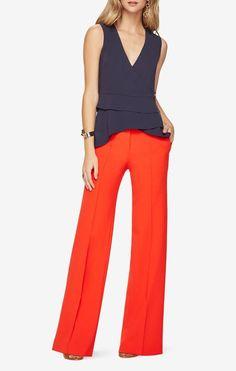 Eleni Peplum Top I love the color and cut of this top Red Peplum Tops, Lace Peplum, Layered Tops, Polyester Satin, Blue Tops, Stylish, Slacks, Trousers, Pants