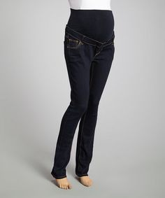 Dark Rinse Over-Belly Maternity Skinny Jeans - Women #zulily #zulilyfinds