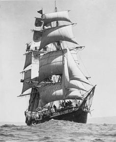 """The 'JOSEPH CONRAD' is an iron hulled, fully rigged ship launched in 1882. Formerly known as the """"GEORGE STAGE."""" Now a museum ship at the Mystic Seaport, CT."""