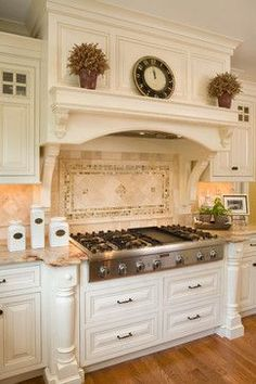 Stunning White Kitchen - love the tile backsplash and the awesome mill work - Houzz