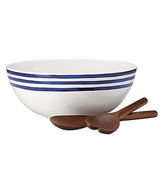 kate spade new york Charlotte Street Striped Porcelain Salad Bowl with Wooden Servers #Dillards