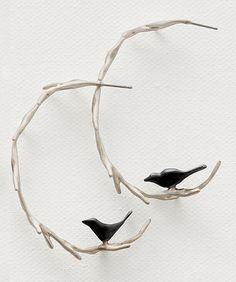"Earrings | Lisa Cimino.  ""Vine with Black Birds"".  Sterling silver."