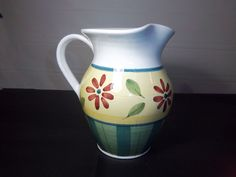 Caleca Pitcher Hand Painted In Italy Green Yellow Red 8 X 8