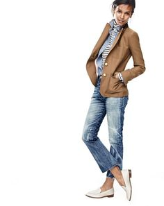 J.Crew women's Rhodes blazer, selvedge chambray shirt, striped tissue turtleneck T-shirt, Point Sur Stevie X-rocker jean in Mill Creek wash and leather loafers.