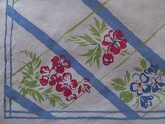 Vintage Hydrangea Dogwood Floral Trellis Thick Cotton Tablecloth | eBay