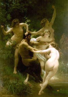 """""""Ninfas y Sátiro"""" William-Adolphe Bouguereau La seducción de las ninfas"""
